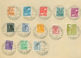SBZ 13 Werte aus 943/959 auf Unterlage, Sonderstempel Schwerin-Mustermesse, 1x gefaltet