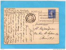 """Carte Postale NICE-OBLIT 1932-Flamme  """"fête Gymniqure Internationale -sur 40 C Semeuse Bleue - Poststempel (Briefe)"""