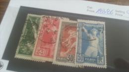 LOT 223232 TIMBRE DE FRANCE OBLITERE N�183 A 186 VALEUR 20 EUROS