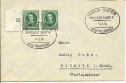 1936   Kraftkurspost  Versuchsfahrt 4, Berlin-Stettin - Marcofilia - EMA ( Maquina De Huellas A Franquear)