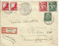 1938 Jahrestag Machtergreifung + 2x Luftpost 10 Pf Auf Einschreiben Von Stuttgart Nach Wien - Germany