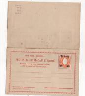 Bilhete Postal 30 On 300 Reis Com Resposta Paga, Unused 1892 - Timor