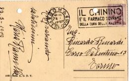 """CARTOLINA POSTALE-ROMA-23-3-19928--IL PANTHEON-REGNO-CENT.20-ANNULLO A TARGHETTA """"IL CHININO..""""EDIZ.E.G.D.V. - 1900-44 Vittorio Emanuele III"""