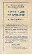 Du 6 Juin Au 26 Octobre 1946LE DIOCESE DE ROUEN RECOIT NOTRE DAME DE BOULOGNE  Document En 4 Pages - Documents Historiques