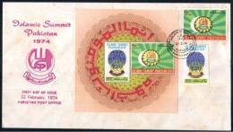 PAKISTAN 1974 MNH FDC FIRST DAY COVER VERY RARE MINATURE SHEET MS ISLAMIC SUMMIT PAKISTAN - Pakistan