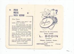 calendrier petit format 1963 , MACARONS  , maison CARRE , L. BODIN , Montmorillon , 2 scans