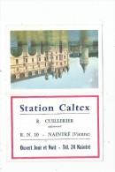 calendrier petit format 1966 , STATION CALTEX , R.N. 10 , NAITRE , chateau de Chenonceaux , 2 scans