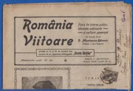 Rumänien; Wrapper 1922; Michel 264; Zeitung Romania Viitoare Nr. 10; 8 Seiten; Ohne Gazeta Cartilor - 1918-1948 Ferdinand, Charles II & Michael