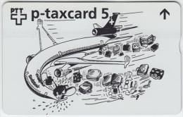 SWITZERLAND A-807 Hologram PTT Private - Cartoon, Traffic, Airplane (slight bend) - 504L - MINT