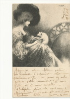 Carte Art Nouveau Femme Profil Avec Cochon Illustrateur Landa Vers Violet Les Vans Ardeche 1902 - Cochons