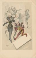 Art Card Signée Leon Max Carnaval Arlequin Clown Belle Femme En Collant - Carnaval