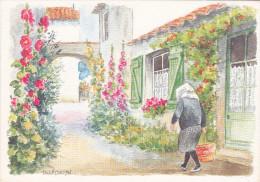 CPM  Représentant Une Aquarelle Originale De Danièle LEBEAU  -  Femme En Quichenotte Et Rue Fleurie    //  TBE - Paintings