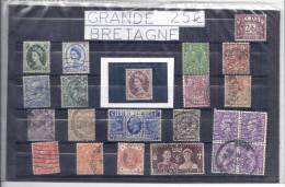 Timbre Poste GRANDE BRETAGNE Lot De 58 Timbres ANGLAIS Avec Trace Charnière Oblitérés  1 Bloc De 4 Roi Reine 1937 1935 - Collections