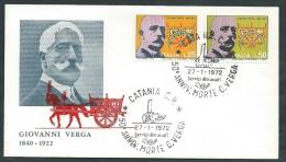 1972 ITALIA FDC ALA GIOVANNI VERGA NO TIMBRO ARRIVO - EDG14 - 6. 1946-.. Republic