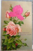 Litho CHROMO RELIEF Illustrateur M.B MEISSNER BUCH AJOUTIS Decoupis Bouquet Rose En Velour  1911 FARCIENNES - Autres