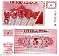 Slovenie SLOVENIA Billet 5 TOLARJEV ND ( 1990 )  P3  NEUF UNC - Banknotes
