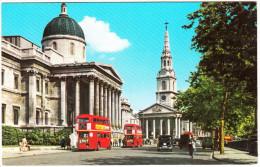 London : DOUBLEDECKER BUSES, OLDTIMER CARS - Streetscene - National Gallery - England - Voitures De Tourisme