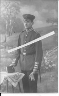 Portrait D'officier Allemand D'artillerie De La Garde Pates D'épaules Jaunes Monogrammées 1 Carte Photo 14-18 Ww1 Wk - War, Military