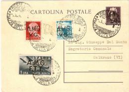 TRIESTE A.M.G.V.G.CARTOLINA POSTALE CENT. 50 SOPRASTAMPATA  A.M.G. - Marcophilie