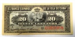 """20 Centavos, Febrero 15, 1897 UNC """"El Banco Español De La Isla De Cuba"""" Periodo Colonial - Cuba"""