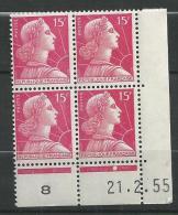 "Coins Datés YT 1011 "" Marianne Muller 15F Rose "" 1955 Neuf - 1950-1959"
