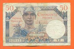 Billet De Banque De 50 Francs Tresor Francais - Voir 2 Scans - 1947 Trésor Français