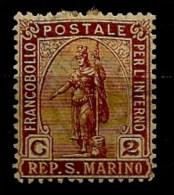 Timbres - Saint-Marin - 1877-1899 - 2c. - - Saint-Marin