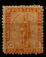Timbres - Saint-Marin - 1877-1899 - 5c. - - Saint-Marin