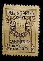 Timbres - Saint-Marin - 1907 -1c. - - Oblitérés
