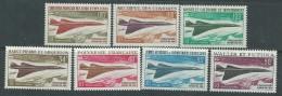 """Grandes Séries Colonies Françaises :Avion Supersonique """"Concorde"""" 1969 XX, Les 7 Valeurs Sans Charnière, TB - 1966 Satellite D1"""