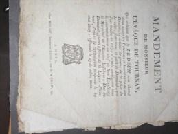 TOURNAI . MANDEMENT DE MONSIEUR L'EVEQUE DE TOURNAY - 12/6/1807- François Joseph HIRN -Suit Prise Ville Dantzig- - Documents Historiques