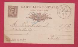 Italie  //  Entier Postal //  De Napoli  //  Pour Paris // 31/12/1881 - Affrancature Meccaniche Rosse (EMA)