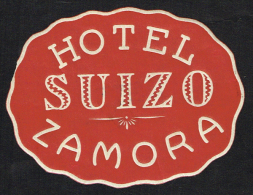 Hotel Suizo Zamora SPAIN - Vintage Luggage Label - 8*6 Cm - Hotel Labels