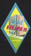 Hotel Felipe II Valladolid SPAIN - Vintage Luggage Label - 14*8 Cm - Etiketten Van Hotels
