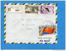 MARCOPHILIE-lettre REC-congo -cad -DOLISIE-1972-3stamps- N°272-insect-Sternotomis+ 253+A141--pou R Françe - Congo - Brazzaville