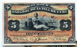"""5 Pesos Fuertes, Mayo 15, 1896, Del """"Banco Español De La Isla De Cuba"""" Era Colonial, AUNC. - Cuba"""