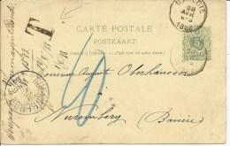 1888  Carte Taxée De Marloie Vers Nürnberg, Deutschland - Postales [1871-09]