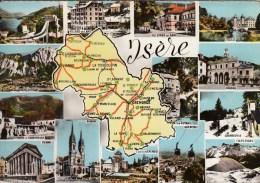 38 - Isère : Multivues Et Carte Géographique Du Département - CPM écrite - Cartes Géographiques