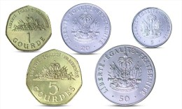 HAITI 5, 20, 50 CENTS, 1, 5 COURDES 5 COINS SET UNC - Haïti