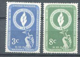133 NATIONS UNIES 1955 -Flamme Main (Yvert NY 38/39) Neuf ** (MNH) Sans Trace De Charniere - New York - Sede De La Organización De Las NU