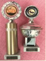 2 X Pokal Kaninchen-Zucht-Verein  -  Ca. 21 Cm Und 26,5 Cm Länge  -  Von Ca. 1980 - Vereinswesen
