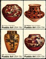 1977 USA Pueblo Pottery Stamps Sc#1706-09 1709a Aboriginal Indians Bird Folk Art Series - Porcelain