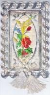 VICTORIAN  ERA  1870´s   CHRISTMAS  CARD    PADDED  CENTER  W/  TASSELS - Mechanical