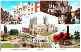 Canterbury: 'THE INVICTA'  STEAM-LOCOMOTIVE, St. Augustine's Abbey Ruins, Christchurch Gateway, Weavers House - England - Trains