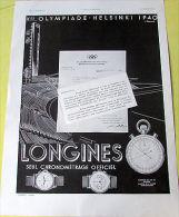 LONGINES / HELSINKI 1940 / 1939  / MONTRE / PUBLICITE ANCIENNE - Unclassified