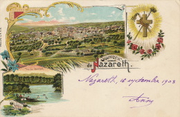 Souvenir De Nazareth Gruss Litho PVKZ No 2001 P. Used French Levant Jerusalem Type Blanc 1903 To Chens Douvaine - Israel