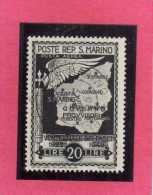 SAN MARINO 1943 GOVERNO PROVVISORIO PROVISIONAL GOVERNMENT AIR MAIL POSTA AEREA LIRE 20 USATO USED - Usati