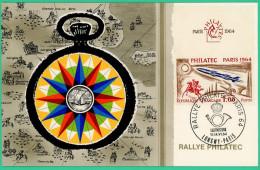 Paris - Carte 1er Jour -  Rallye Philatec - Luxembourg, Lonqwy, Paris - 1964 - Expositions