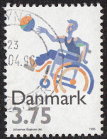 Timbre  Du  DANEMARK  1996    ' '    Yvert  1123   ' '   3 K. 75   Basket-ball  Pour  Handicapés - Handisport