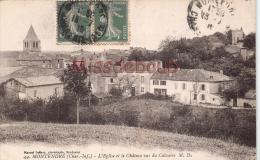 17 - MONTENDRE - Eglise  Et Le Chateau Vus Du Calvaire  -  Dos Vierge - 2 Scans - Montendre